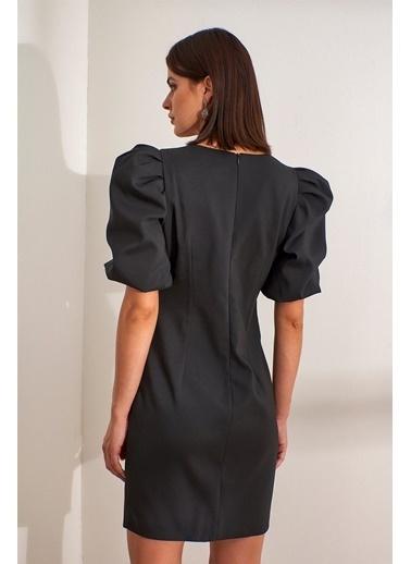 Setre  Kare Yaka Karpuz Kol Drapeli Mini Abiye Elbise Siyah